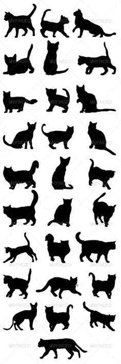 Cats Silhouettes Big Pack 2 - Animals Characters and like OMG! get some yourself some pawtastic adorable cat apparel! Black Cat Tattoos, Animal Tattoos, Tattoo Gato, Silhouettes, Cat Vector, Vector Art, Cat Quilt, Cat Drawing, Trendy Tattoos