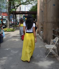 Summer / Piperlime bright yellow pleated maxi skirt, pink Steve Madden purse, and American Apparel crop top - NYC attire