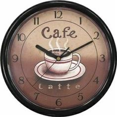 Geneva Clock Co 8125 Cafe Plastic Wall Clock - - Product Description: Cafe latte wall clock. Overall diameter: Dial only diameter: Wooden Wall Art, Metal Wall Art, Cafe Themed Kitchen, Coffee Clock, Tuscan Bedroom, Kitchen Drawing, Hanging Clock, Coffee Theme, Coffee Drinks
