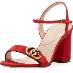 Gucci Marmont Suede Block-Heel Sandal ($595) ❤ liked on Polyvore featuring shoes, sandals, red, shoes sandals, toe strap sandals, suede sandals, red shoes, red suede shoes and ankle wrap sandals