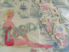 Vintage Florida souvenir pillow cover
