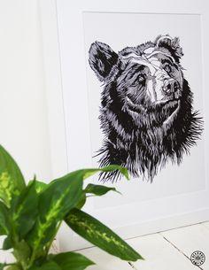Scruffy Bear framed print - Original artwork by Luke Dixon. Bear Print, Limited Edition Prints, Wood Print, Original Artwork, Moose Art, Lion Sculpture, Framed Prints, Statue, Landscape