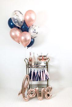 Rose Gold Blush Navy Bridal Shower Party in a Box Tassel Garland Love Balloon Rose Gold Navy Blush Confetti Balloons Wedding Fall Shower Navy Bridal Shower, Blush Bridal Showers, Bridal Shower Party, Bridal Shower Decorations, Confetti Balloons Wedding, Mini Albums, Navy Baby Showers, Love Balloon, Balloon Arch