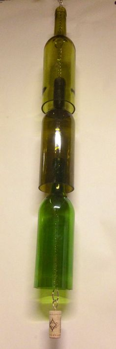 Wine Bottle Windchime. Recycled Glass by RandomCraftsBySundee, $30.00