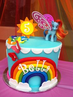 Incredible Rainbow Dash Birthday Cake for Bella's birthday. Made by Heavenly Treats by Jackie!