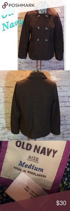 OLD NAVY DARK BROWN PEA COAT Super cute and stylish cotton pea coat in a chocolate color in gently used condition Old Navy Jackets & Coats Pea Coats