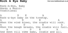 Rock A Bye Baby Lyrics | ... , lyrics with chords for guitar, banjo etc for song rock-a-bye-baby