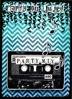 Card by Belinda Spencer using Darkroom Door Cassette Tape Eclectic Stamp, Chevron Background Stamp and Party Time Rubber Stamp Set!