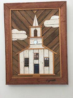 Church Wall decor Theodore Degroot wood lath art folk item Primitive Austin 70's