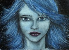 """Blue Girl"": Oil on canvas - 27x35 cm - ""Behind blue skin"" (before 'Avatar')"