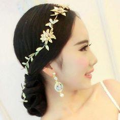 Bridal leave flower gold tone rhinestone party crown headpiece Hair tiara HR468 #Unbranded #tiara #party