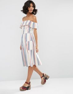 Image 4 ofASOS Off Shoulder Stripe Sundress in Natural Fibre
