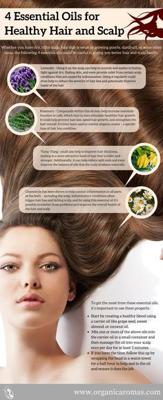 4 Essential Oils for Healthy Hair and Scalp - #OrganicAromas You deserve a great looking head of hair and a healthy scalp. The essential oils above are perfect for helping you achieve that goal.