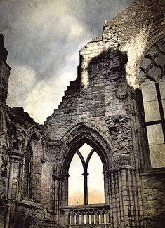 Ruins of Holyrood Abbey in Edinburgh, Scotland; built in 1128 by King David I of Scotland and home for mediaeval monks with HDR and grunge fancies. It has been a ruin since the eighteenth century.(10000wishes on flickr)