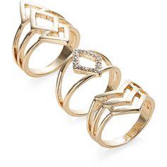 Jewellery & Accessories | Jewellery & Accessories | Set of Three Geo... (400 UYU) ❤ liked on Polyvore featuring jewelry, rings, accessories, aneis, geometric rings and geometric jewelry