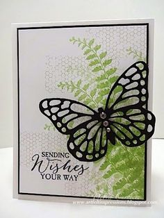 Stampin' Up! ... hand crafted card by ARTfelt Impressions ... green collage style stamping of ferns and tiny hexagon grid ... black mat, ink and thin line mat ... luv the fresh look ...