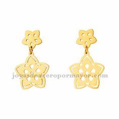 aretes con flor de dorado en acero-SSEGG954329