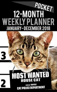 """2018 Pocket Weekly Planner - Most Wanted House Cat: Daily Diary Monthly Yearly Calendar 5"""" x 8"""" Schedule Journal Organizer Notebook Appointment: Volume 35 (Small Pocket Book Size Cat Planners 2018)"""
