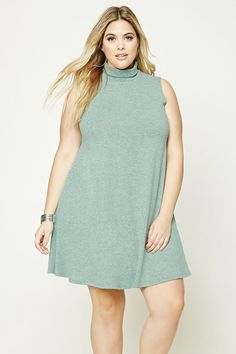 Forever 21+ - A marled knit swing dress featuring a turtleneck and a sleeveless cut.