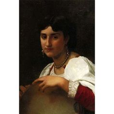 Buyenlarge 'Italian Girl with A Tambourine' by William Bouguereau Painting Print