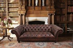 Tetrad Printed Chesterfield Leather Sofa