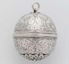 A Rare English Silver Musk Pomander.  ca. 1600.