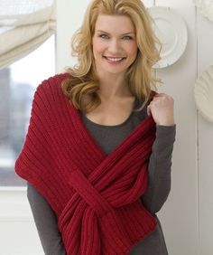 Self-Fastening Scarves and Shawls Knitting Patterns Free knitting pattern for Ribbed Slit Shawl - Kimberly K. McAlindin designed this easy shawl for Red Heart that's perfec. Shawl Patterns, Knitting Patterns Free, Free Knitting, Free Pattern, Crochet Patterns, Beginner Knitting, Pattern Ideas, Knitting Ideas, Knitting Projects