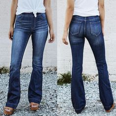 For Sale - Womens Slim Fit Flare Jeans Mom Elastic High Waisted Denim Pants Femme Dark Blue Bell Bottom Trousers Pantalones Vaqueros Mujer Lässigen Jeans, Casual Jeans, Wide Leg Jeans, Jeans Style, Mom Jeans, Skinny Jeans, Ladies Jeans, Jeans Women, Casual Outfits