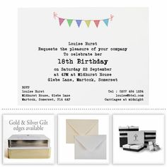 18th & 21st Party Invitations - Honeytree Personalised Stationery #CreateABuzz