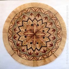 Freehand Zendala or Mandala on a coffee dyed unbleached coffee filter. Post includes how-to!
