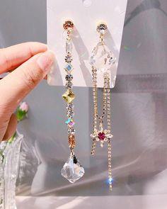 Femmes coréen Long Cristal Clous D/'Oreilles Moon Star Drop Dangle Femmes Bijoux