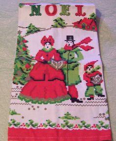 Vintage retro Christmas carolers Noel linen kitchen tea towel by BigGDesigns on Etsy