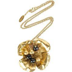 Roberto Cavalli Floral crystal pendant ($108) ❤ liked on Polyvore