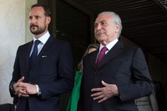 Michel Temer se encontra com o príncipe da Noruega, Haakon (foto: EPA)