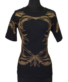 Loving this Black & Gold Bejeweled Filigree Crewneck Top - Women on #zulily! #zulilyfinds