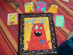 Monster mini quilt and ATCs made for Invite Your Partner Swap on Craftster