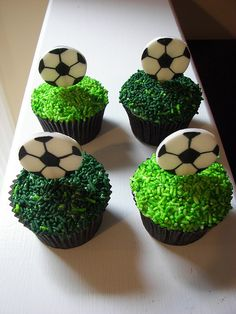 Soccer cupcakes - grass made from green sprinkles