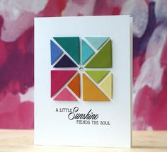 hand crafted card ... PTI-Quilted: Summer ... die cut triangles form mod little quilt block ... luv it!