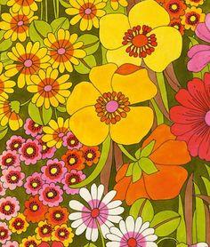 ✿ Sunshine, Lollipops, and Rainbows! ✿ My mom had a bedspread with this pattern 😊 60s Art, Retro Art, Psychedelic Pattern, Psychedelic Art, Cute But Psycho, Motif Vintage, Vintage Fabrics, Retro Fabric, Hippie Wallpaper