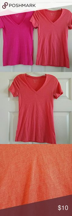 Old Navy Vintage Tees All gently pre-loved. Still in great condition! No rips, stains, tears or holes. One dark pink, one light pink, one coral. All size extra small. Fitted style. Printed vinyl tags on the inside of the shirt are faded away from washing.   * no holds or trades  * anyone asking for my lowest will be ignored  * price firm unless bundled Old Navy Tops Tees - Short Sleeve