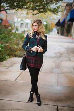 How To Wear Plaid the Haute Way. Black and navy worn together are haute, haute, haute!  Do not shy away from this chic combination.