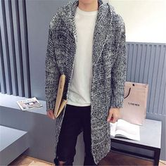 2017 New Arrival Long Sweater Coat Korean Fashion Cardigan Men Slim Fit Cool Cardigans Red Sweaters Pull Homme Christmas Gift