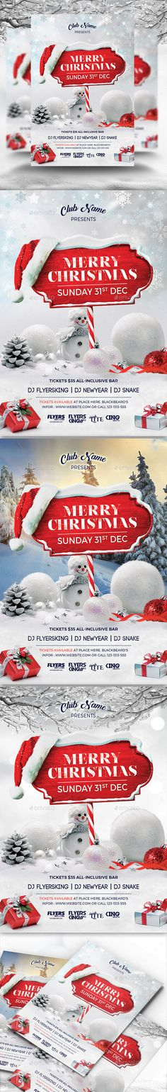 Merry Christmas Flyer V03 — Photoshop PSD #gift #poster • Download ➝ https://graphicriver.net/item/merry-christmas-flyer-v03/18856000?ref=pxcr