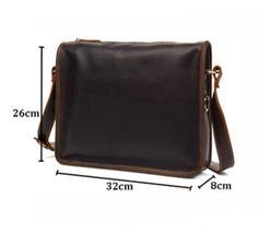 Small Men Messenger Bag, Mens Shoulder Bag, Leather Messenger Bag, Leather Crossbody Bag MS153