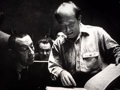 Composer Sergei Rachmaninoff in rehearsal with Eugene Ormandy, 1938.