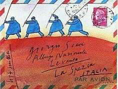 Art postal - Folon - hill with flag-holding people walking across