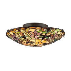 @Overstock - Tiffany-style 2-light Vintage-bronze Stained-glass Flush Mount - Light from two bulbs is diffused by the colorful, floral stained glass shade of this gorgeous lighting fixture. Vintage bronze frames the 367 pieces of intricately cut glass for a retro chic look.  http://www.overstock.com/Home-Garden/Tiffany-style-2-light-Vintage-bronze-Stained-glass-Flush-Mount/8615926/product.html?CID=214117 $169.99