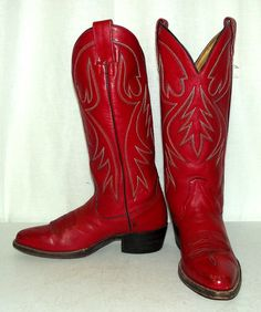Vintage Red Leather Womens Western cowboy by honeyblossomstudio