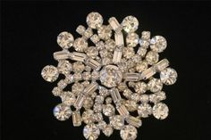 Vintage Signed Weiss Rhinestone Brooch Pin Large Pin Wheel Swirl Brooch Pin #Weiss