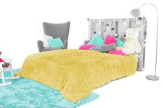 Chlpatý prehoz žltej farby Toddler Bed, Relax, Kids Rugs, Furniture, Home Decor, Child Bed, Decoration Home, Kid Friendly Rugs, Room Decor